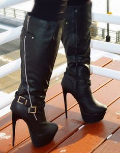 Brown leather Knee High heel boots#shoes fetish