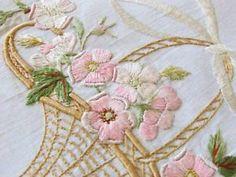 Victorian Antique Society Silk Large Linen Centerpiece Basket of Violets | Vintageblessings