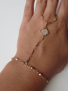 Gold chain hand bracelet/ slave bracelet/ ring by PanachebyAmanda, $42.20