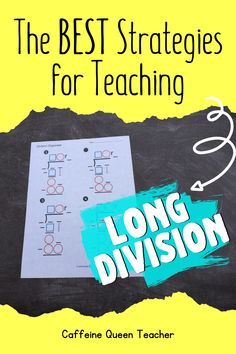 Learn the best way to teach multi-digit multiplication and long division. This differentiated strategy helps grade, grade, grade, and special education students. Teaching Multiplication, Math Fractions, Maths, Teaching Strategies, Division Strategies, Teaching Ideas, Number Sense Kindergarten, Kindergarten Math, Teaching Long Division