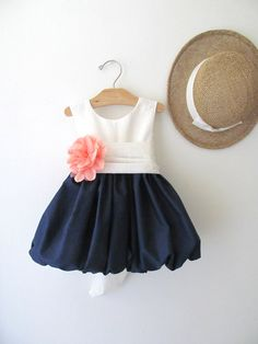 This is so cute for the flower girl dress! Delicate Navy and Coral Flower Girl Dress by pleasantlypeasant Coral Flower Girl Dresses, Little Girl Dresses, Little Girls, Coral Dress, Lace Flower Girls, White Dress, Baby Girl Fashion, Kids Fashion, My Baby Girl