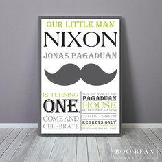 Moustache Birthday | Printable Invitation | Moustache Invitation | Little man…