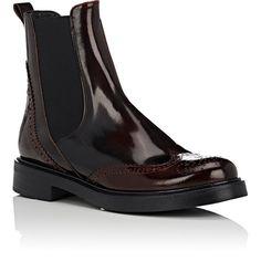 Barneys New York Spazzolato Leather Wingtip Chelsea Boots - 11.5 Burgundy