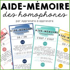 Learning Games For Kids, Activities For Kids, Les Homophones, Homework Club, French Education, Cycle 3, School Readiness, French Lessons, Student Life