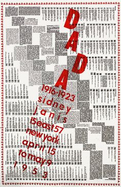 graphic black, white, and red + DADA! + rethinking the grid + type as image/// Marcel Duchamp - 1953