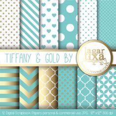Tiffany & Gold Background by Lagartixa por LagartixaShop en Etsy, $50.00