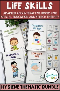 Improve life , receptive and expressive language and attending skills with these adapted books.  This bundle is a great teaching resource to motivate and create healthy habits in your child. It is especially useful for little kids and/or special needs kids who have difficulty with hygiene routines.  #adaptedbooks #adaptedbooksforautism #autism #specialeducation #speechtherapy Special Education Activities, Life Skills Activities, Parent Resources, Kids Education, Secondary Resources, Education Quotes, Co Teaching, Teaching Ideas, Teacher Tools