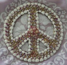 Shell Peace Sign 10 diameter by ArtiseaShellArt on Etsy, $100.00
