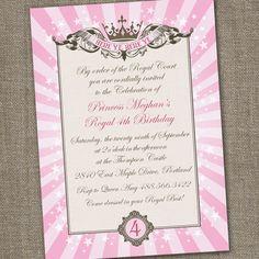 Royal Princess Tiara Printable Birthday Invitation. $15.00, via Etsy.