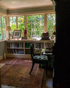 Sometimes I feel a little like Briar Rose, with all the green leaves that are growing up around my house. It is an odd thing, to live in… Diy Maison, Briar Rose, Cozy House, Dream Rooms, Low Bookshelves, Book Shelves, Clerestory Windows, Big Windows, Relaxing Room