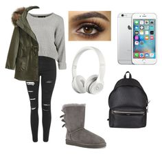 """""""Untitled #175"""" by angelinavoron23 ❤ liked on Polyvore featuring beauty, Topshop, WithChic, UGG Australia, Yves Saint Laurent and Beats by Dr. Dre"""
