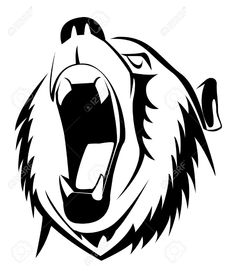 Illustration of bear roar vector art, clipart and stock vectors. Big Bear Tattoo, Bear Tattoos, Body Art Tattoos, Silhouette Clip Art, Animal Silhouette, String Art Patterns, Portfolio Logo, Bear Logo, Mascot Design