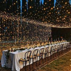 wedding fairy lights wedding lights Wedding Trends: Our Big Predictions for 2020 Night Wedding Photos, Wedding Night, Outdoor Night Wedding, Outdoor Wedding Lights, Wedding Ideas Evening, Wedding With Lights, Twinkle Lights Wedding, Fairy Lights Wedding, Light Wedding