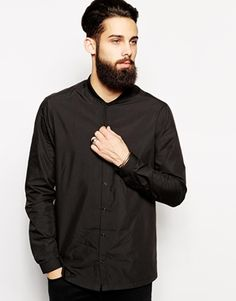 ASOS Smart Shirt with Baseball Collar in Long Sleeve