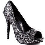 Dayami Silver Glitter Concealed Platform Heels - Polyvore