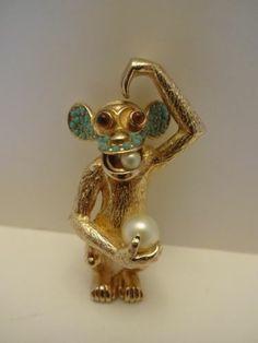 Signed Ciner Monkey Brooch