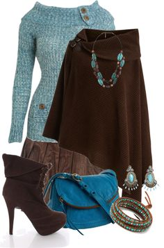 """""""Brown & Turquoise"""" by tracireuer on Polyvore"""