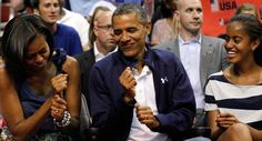Caption: President Obama dances to the music with first lady Michelle Obama, with daughter Malia (right) while attending Team USA and Brazil in an Olympic men's exhibition basketball game, July Michelle Obama, Tgif, Obama Dancing, Beauty Uniforms, Olympic Basketball, Malia Obama, Black Presidents, We Fall In Love, How To Feel Beautiful