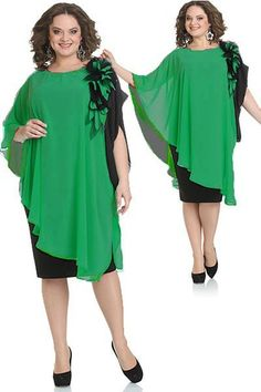this green is NOT my color. But the lines of the dress are interesting. Casual Dresses, Short Dresses, Fashion Dresses, Formal Dresses, Plus Size Dresses, Plus Size Outfits, Western Dresses, I Dress, Cape Dress