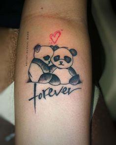 101 Amazing Panda Tattoo Ideas You Need To See! Cute Matching Tattoos, Cute Tattoos, Small Tattoos, Tiny Tattoo, Koala Tattoo, Panda Bear Tattoos, Moon Tattoo Designs, Small Tattoo Designs, Forarm Tattoos