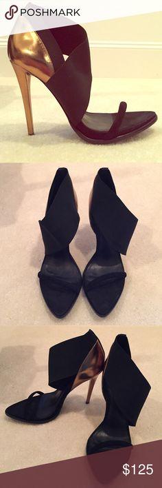 Schutz black open toe pumps with bronze heel Never work and in brand new- excellent condition. SCHUTZ Shoes Heels