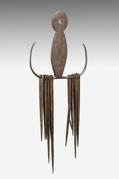Rare Regency Brass-inlaid Wrought Iron or Steel Skewer Holder with ten Skewers