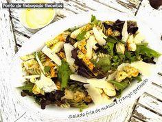 Salada fria de massa e frango grelhado