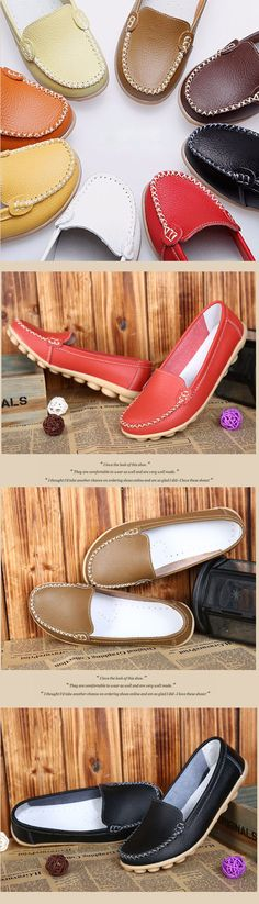 US$14.00 Casual Soft Sole Pure Color Slip On Flat Shoes Loafers,leather shoes, flats shoes women,women's shoes flats,flat shoes outfit,shoes outfits,soft leather shoes,women shoes