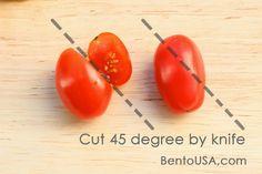 Cut 45 Degree to make Heart-shaped Tomato