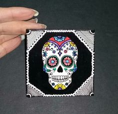 Miniture mdf tile painted with sugar skull design