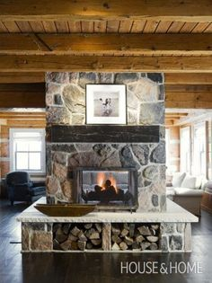 Wraparound Raised Hearth Fireplace Photo Gallery: Ray Murakami's Favourite Projects House & Home Design by Connie Braemar Design Unused Fireplace, Cottage Fireplace, Farmhouse Fireplace, Fireplace Hearth, Home Fireplace, Fireplace Surrounds, Fireplace Design, Country Fireplace, Fireplace Bookshelves