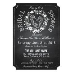 Chalkboard Seahorse Seashells Bridal Shower Cards