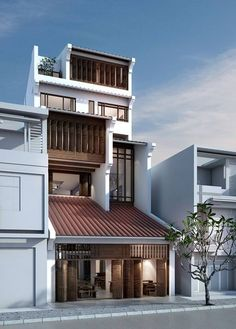 will you be my house ☹️♥️ House Front Design, Cool House Designs, Modern House Design, Architecture Design, Facade Design, Contemporary House Plans, Modern Contemporary, Narrow House, Street House