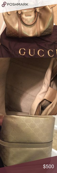 Authentic Gucci monogram Boston /Doctor Bag Good pre-owned condition. Authentic & I encourage you to have it verified through the Posh Concierge😀. Minor marks on the inside (see pics). see pic of bag code. Bag is a gold/champagne vinyl material. Brass hardware Gucci monogram GG in metallic gold. Top Handle. Gucci Dust bag included. Sand colored fabric interior. Inside zipper pocket.  ✅L13inch H10inch D7inches Drop 5 inches. NO TRADES. 👉🏽👉🏽Firm price 😘 very unique bag! Gucci Bags