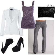 A fashion look from February 2012 featuring dressy tops, white jacket and Raven Denim. Browse and shop related looks. Looks Style, Looks Cool, My Style, Work Fashion, Fashion Outfits, Womens Fashion, Fashion Shoes, Fashion Fashion, Fashion Beauty