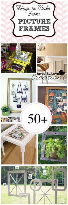 50+ Creative Things to Make From Picture Frames #repurpose #upcycle #diy @savedbyloves Cute Crafts, Crafts To Do, Diy Crafts, Upcycled Crafts, Picture Frame Crafts, Picture Frames, Diy Projects To Try, Craft Projects, Craft Ideas