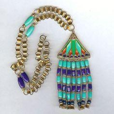 Hattie Carnegie Pearl White Enameled Lotus Flower Egyptian Revival Necklace Nice #HattieCarnegie #EgyptianRevival