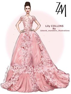 🌸🌸Lily Collins 🌸🌸wearing ZUHAIR MURAD at the 2017 by David Mandeiro Illustrations The best dress of this night ! by David Mandeiro Illustrations Fashion Illustration Collage, Illustration Mode, Fashion Illustrations, Frock Fashion, Fashion Art, Girl Fashion, Fashion Design Drawings, Fashion Sketches, Dress Sketches