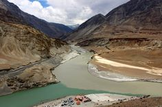 Intersection of the Indus and Zangskar rivers...  Brought to you by: www.ladakhtravelco.com