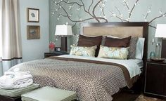 Fancy Sticker Wall Decal Feat Espresso Master Bed Frame Also White Shade Table Also Brown Bedroom Rugs In Small Space Light Blue Bedroom Ideas Best Bedroom Colors, Bedroom Themes, Bedroom Decor, Bedroom Ideas, Bedroom Furniture, Design Bedroom, Bedroom Rugs, Furniture Ideas, Bedroom Photos