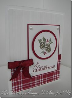 handmade Christmas card ... white and red ... great layout from card sketch ... like the use of patterned plaid paper and wide stripe embossing folder texture ...