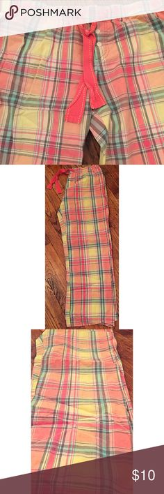 LIKE NEW Xhilaration Plaid Pajama Pants Great condition! Faded sharpie ink on the inside of the pants with my name on it but it cannot be seen when you are wearing them.  Pink tie with elastic band and 2 white buttons in front.  100 PERCENT COTTON! Reasonable offers accepted :) Xhilaration Intimates & Sleepwear Pajamas