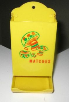 vintage mod 1970's merry MUSHROOM MATCH SAFE HOLDER HANGING retro KITCHEN