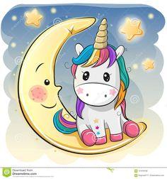 Ilustración acerca El unicornio lindo de la historieta en un sombrero experimental se está sentando en la luna. Ilustración de arte, magia, noche - 121918192