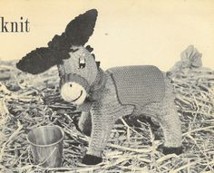 Donkey vintage toy knitting pattern PDF instant by Ellisadine