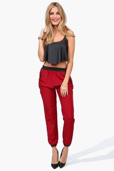 Biker Leather Harem Pants in Burgundy