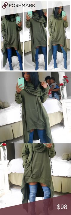 Oversized hoodie sweater cape This comfortable oversized hoodie features a cowl neckline, long sleeves, front pocket, duck tail style design. Bust 20 inches, length front about 28 inches and back measures about 44 inches.  Regular and Plus Size  100% Cotton Sweaters Shrugs & Ponchos