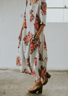 Linen Floral Dress with Pockets | ROOLEE