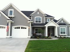 dovetail gray sw white dove bm exterior paint colors for our house this summer Grey Exterior, House Paint Exterior, Exterior Paint Colors, Exterior House Colors, Paint Colors For Home, Exterior Design, Black Trim Exterior House, Siding Colors For Houses, Stucco Exterior