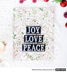 Stacked Words Christmas Tree card by May Sukyong Park for Hero Arts